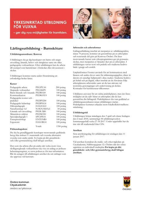 Informationsblad - Barnskötare