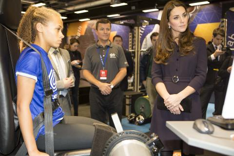 The Duchess of Cambridge, Patron of SportsAid meets sprinter Shona Richards at GSK's Human Performance Lab in London