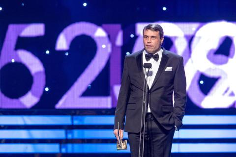 Daniel Kindberg, ordförande Östersund tog emot priset Årets Ledare istället för Graham Potter under Idrottsgalan den 15 januari 2018 i Stockholm.