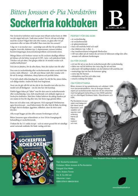 Sockerfria kokboken av Bitten Jonsson och Pia Nordström