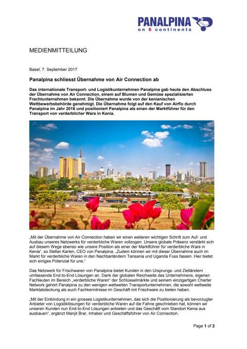 Panalpina schliesst Übernahme von Air Connection ab