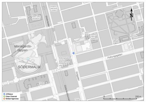 Karta: Reklamtavlornas placeringar