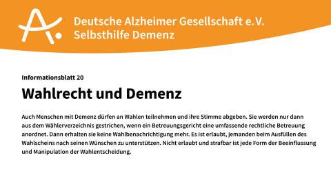 Wahlrecht für Menschen mit Demenz?! - Neues Informationsblatt der DAlzG erschienen