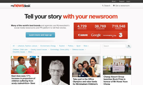 New Mynewsdesk homepage