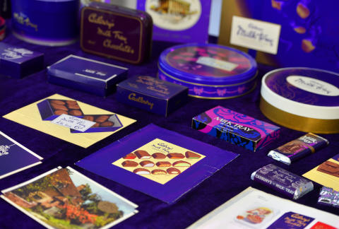 Milk Tray packaging spanning the 100 years of production