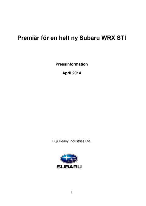 Pressinformation WRX STI MY15