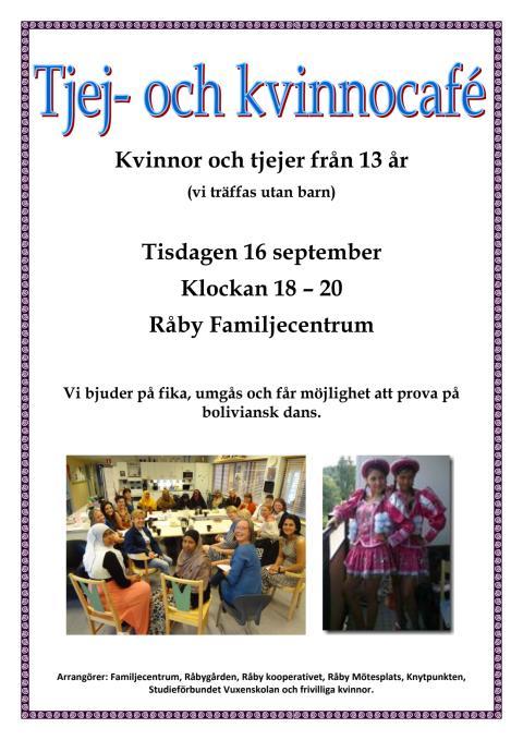 Affisch Tjej- och kvinnocafé på Råby 16 september 2014