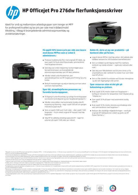 Dataark HP Officejet Pro 276dw