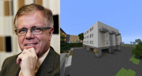 Erik Hellqvist, vd Svensk Byggtjänst och en Minecraftmodell över Fisksätra