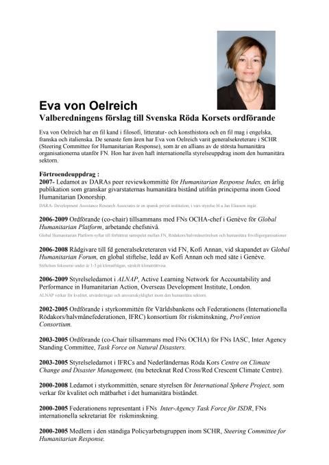 Eva von Oelreich - cv