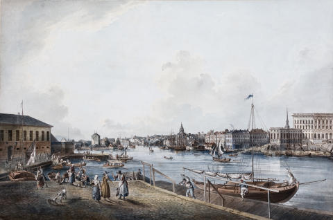 """""""Utsikt från Norrmalm mot Saltsjön"""", färglagd gravyr av av Johan Fredrik Martin (1755–1816). Ill. i Konsten att försörja sig."""