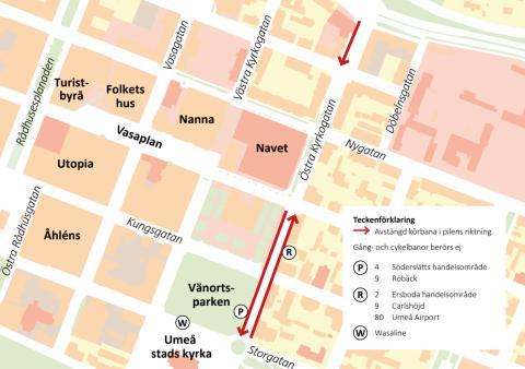 Karta avstängning Östra Kyrkogatan 9-10 sept 2017