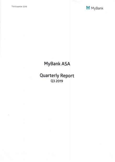 Kvartals rapport Q3 2019
