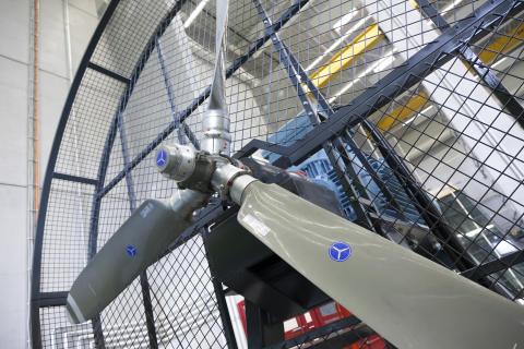 Flypropellen som brukes til de dynamiske vindtestene.
