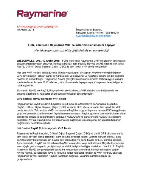 FLIR, Yeni Nesil Raymarine VHF Telsizlerinin Lansmanını Yapıyo