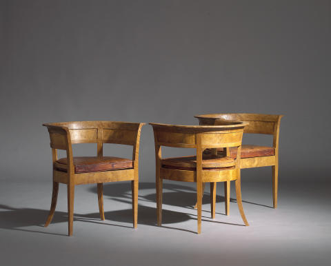 Kaare Klint: An exceptional, early and rare set of three oak burl armchairs.