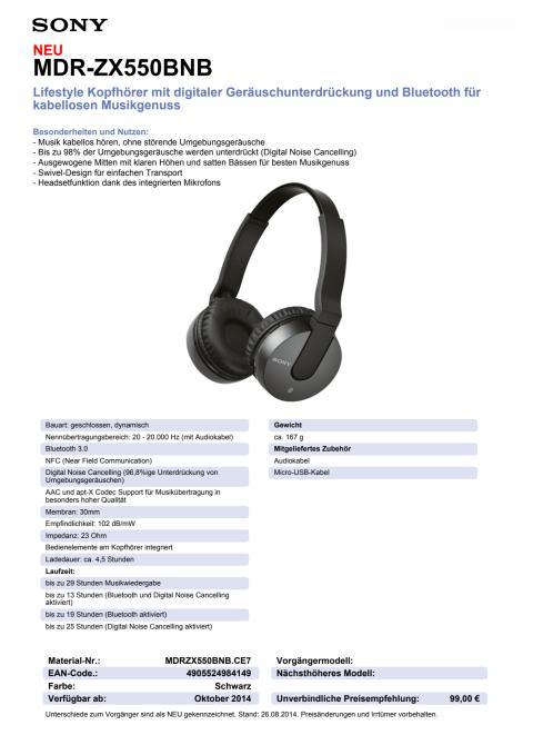 Datenblatt MDR-ZX550BNB von Sony