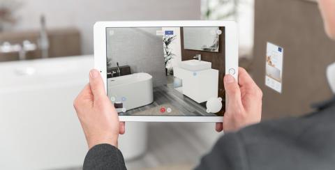 B2C:  Découvrir vos produits préférés de façon interactive -  L'application Augmented Reality de Villeroy & Boch vous aide à concevoir votre nouvelle salle de bains
