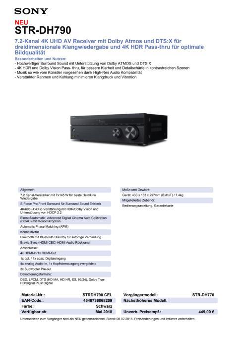 Datenblatt AV-Receiver STR-DH790 von Sony