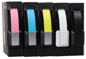 Nebula headphones come in five trend colours: White, Black, Pink, Blue and Yellow