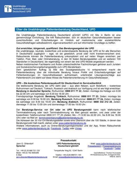 Basisinformation der Unabhängigen Patientenberatung Deutschland (UPD)