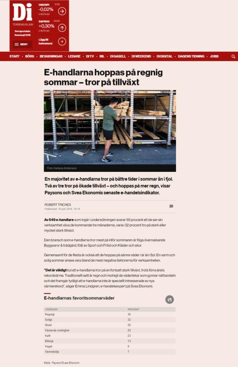E-handlarna hoppas på regnig sommar - tror på tillväxt
