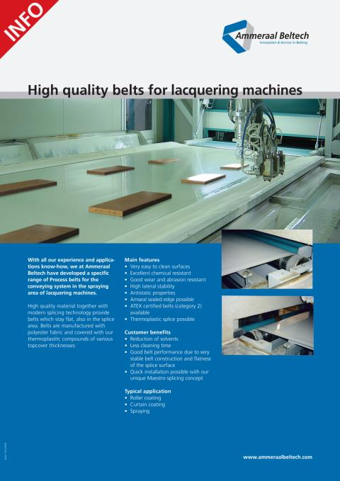 High quality belts for lacquering machines