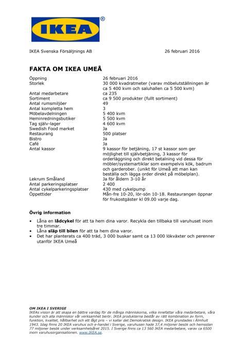 FAKTA OM IKEA UMEÅ