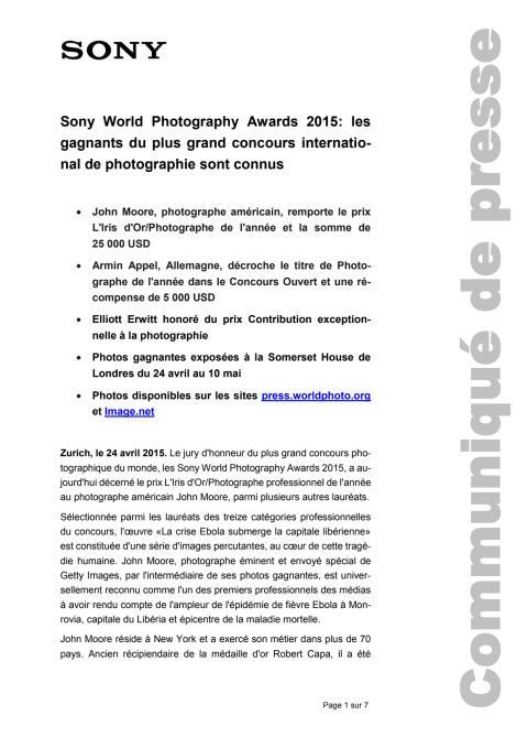 Communiqué de presse_Sony_SWPA 2015_L'Iris d'Or_150424_F-CH
