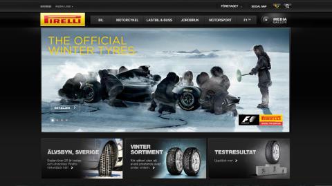 Pirellis webbsida omgjord och uppdaterad.