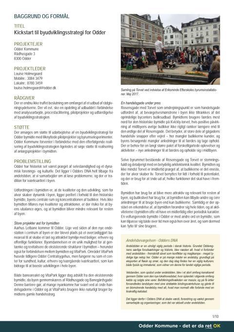 Ansøgning: Kickstart til byudvikling for Odder