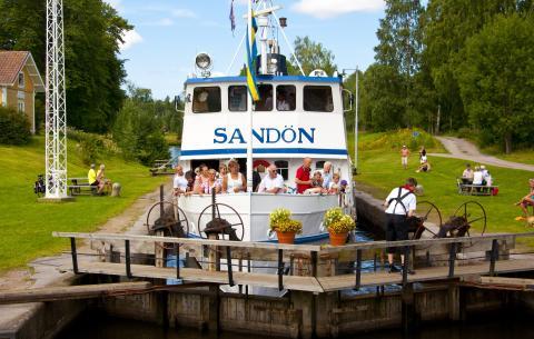 Göta kanal Sandön i sluss