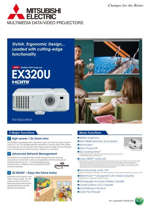 Produktblad på data/videoprojektor EX320U från Mitsubishi Electric