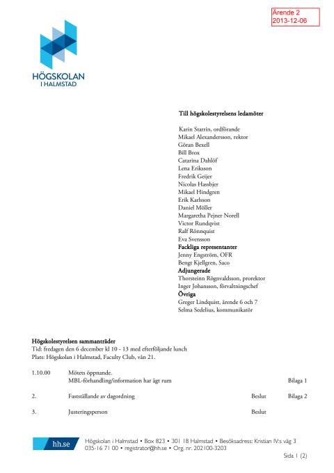 Dagordning högskolestyrelsen 2013-12-06
