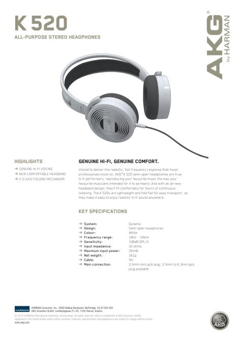 Specification sheet - AKG K 520 (English)