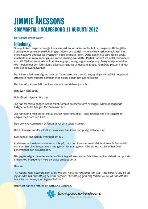 Åkesson talmanus sommartal 2012