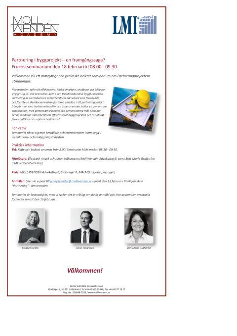 Partnering i byggprojekt - Frukostseminarium 18/2