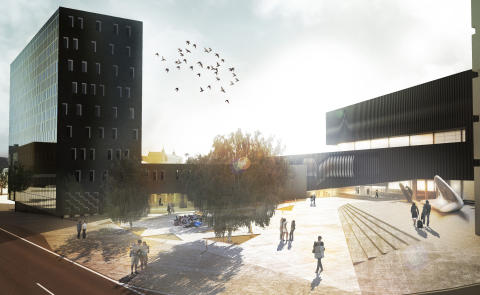 """Back in Black"". Competition finalist in the international design competition for the New National Arts Museum at Vestbanen. Rodeo Arkitekter in collaboration with Torger Wendelbo and Sondre Gundersen."