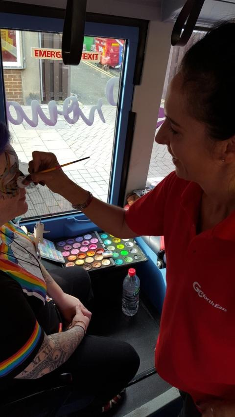 Go North East provided entertainment including face painting at Sunderland Pride
