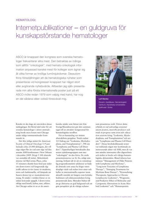 Hematologi - docent Leif Stenke rapporterar från ASCO 2010