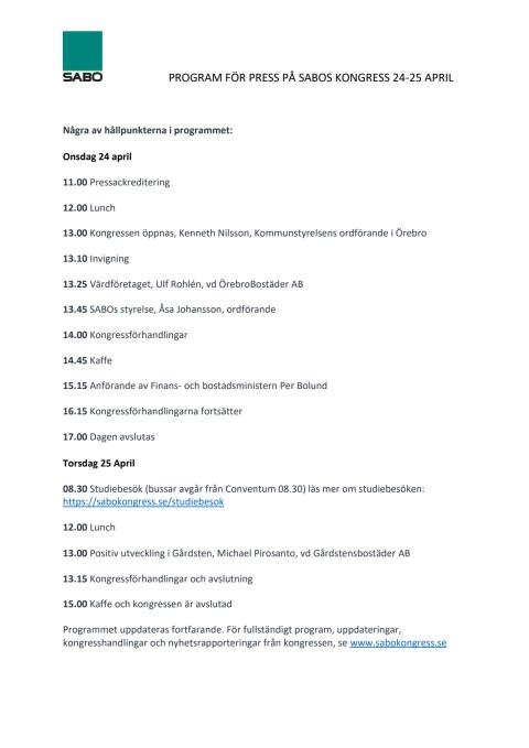 Program för press på SABOs kongress 2019