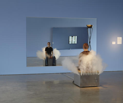 Jeppe Hein, Smoking Bench (Rykande bänk), 2002.
