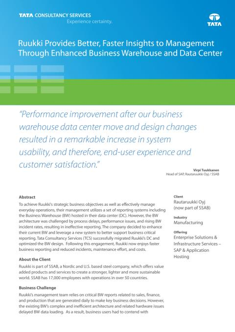Ruukki Provides Better, Faster Insights to Management Through Enhanced Business Warehouse and Data Center