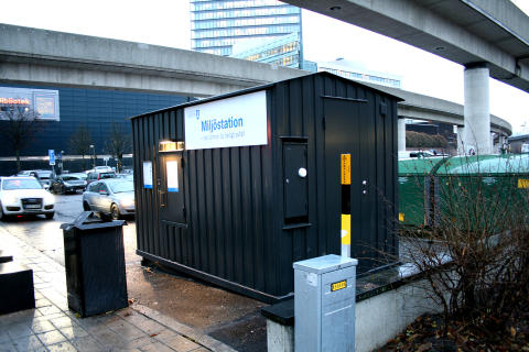 Automatiska miljöstationen på Vejlegatan i Kista.
