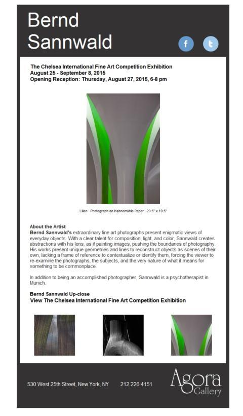 Einladung zur Vernissage in die Agora Gallery New York