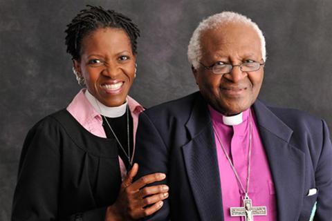Presskonferens med Desmond Tutu och Mpho Tutu