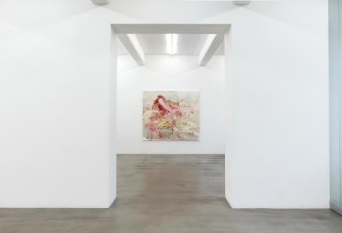 """Katrin Westman, Installationsvy """"Avhängda mantlar"""", Galleri Andersson/Sandström Stockholm"""