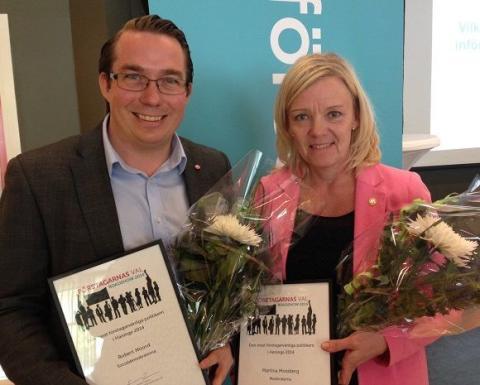 Haninges mest företagarvänliga politiker 2014 är Martina Mossberg (m) och Robert Noord (s)