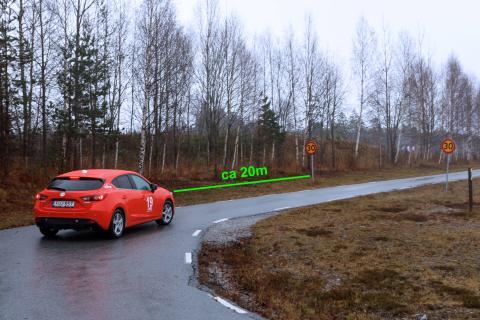 Bilderna på 30-skylten är tagna på 20 m avstånd – Synbesiktningen 2015