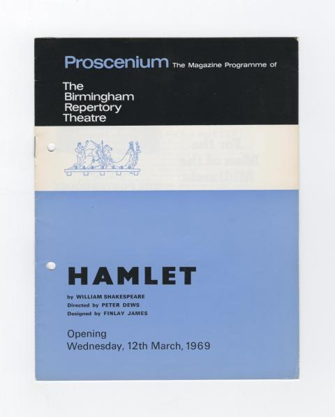 1959 Birmingham Rep Theatre programme cover for Hamlet, by William Shakespeare